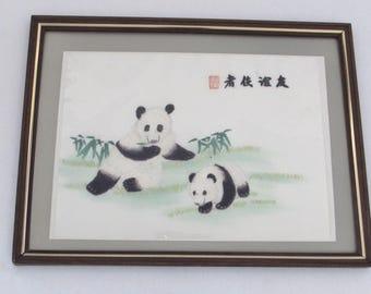 Asian Signed Panda Bear Stitchery - Chinese - Japanese Framed Art - Vintage Home Decor