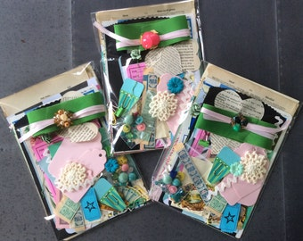 Paper and more collage kit over 70 pieces for art journals, smash books, junk journals, tags, cards, mixed media-pastel colors