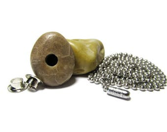 Petoskey Kit II, Petoskey Stone, Lake Michigan, Center Drilled, Large Hole, Grommets, 30 Inch Chain, Stainless Steel, Jewelry Kit, DIY