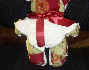 Patchwork Teddy Bear with White Vintage Chenille Back and Burgandy Bow