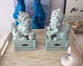 Oriental Ceramic Glazed Foo Dogs // Shishi Lions // Chinese Figurines // Chinoiserie Chic