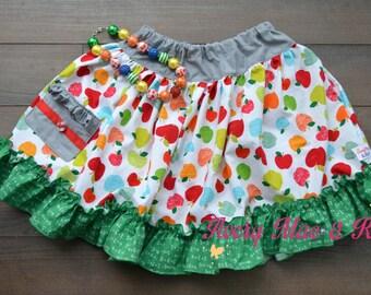 Little Lady's Appletastic twirl skirt Size 5/6/7  OOAK & R2S