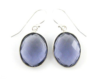 Bezel Gemstone Oval Pendant Earrings -Sterling Silver Bezel Gem and Hooks- Iolite Quartz Earrings -Oval Gemstone Earrings-640112-IOQ