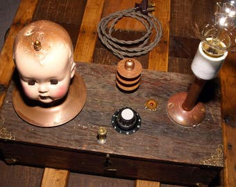 Horror/goth doll head box lamp