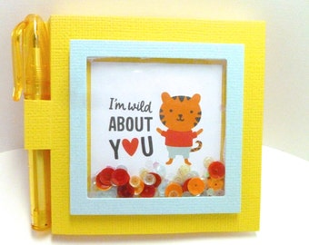 Little tiger theme note pad, sticky note holder with pen, shaker post it, I'm wild about you