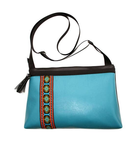 Turquoise vinyl, vintage trim, boho, medium crossbody, vegan leather, zipper top, tassel