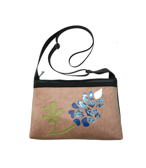 Bluebonnet, wildflower, Texas, vinyl, medium crossbody, vegan leather, zipper top