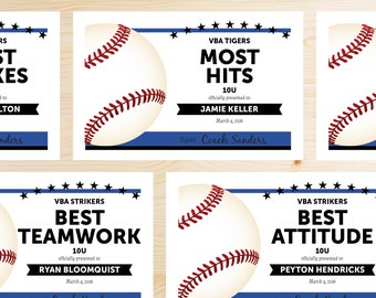 Editable Baseball Award Certificates - INSTANT DOWNLOAD PRINTABLE - Blue and Black