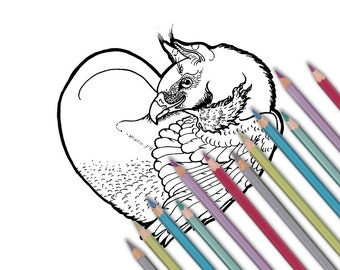 """Printable coloring page: """"Griffin Heart"""" Instant download - PDF"""