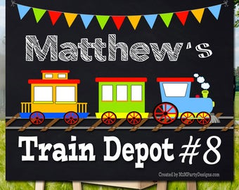 Train Birthday Poster. Backdrop - Printable sign - DIY Print candy buffet sign, dessert table, Train Station, construction site,