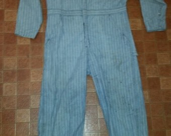 Men's Vintage Blue Herringbone Wrangler Paul Bunyan Work-Wear Barn Chores Field Coveralls Sz-42