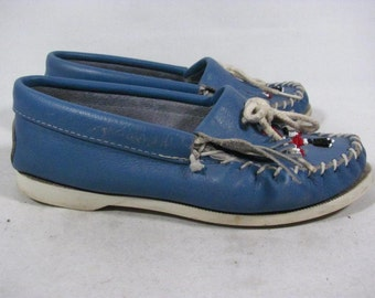 Vintage Minnetonka Thunderbird Beaded Moccasin Loafer Women size 4