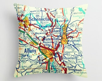 New York Pillow Cover, Husband Birthday Gift, Schenectady Troy Albany, Husband Gift New York Gift, Map Pillow Custom Throw Pillow Map Pillow