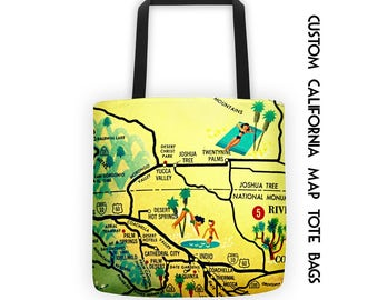 Custom California Map Tote Bag, Custom  California Beach Bag Tote Summer Outdoors San Diego Map, Summer Outdoors Los Angeles Palm Springs