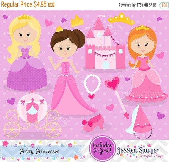 80% OFF - INSTANT DOWNLOAD - pretty pink princess party clip art  - commercial use - princess graphic - girls birthday image ,