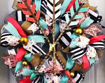 LIMITED AVAILABILITY! Large!  Shabby Chic Wreath - County Decor - Shabby Chic Decor - Whimsical - Burlap - Mesh Wreath - Spring Wreath