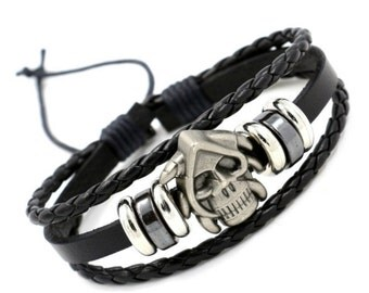 Leather and stainless steel bracelet, gothic