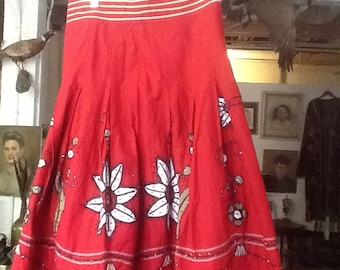 Vintage Hand Embroidered and Beaded Gypsy Skirt