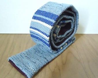 1960s Ivy League Knit Square Necktie / vintage Ivy Loom men's hand woven blue stripe striped pattern tie