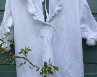 RITANOTIARA Saffy Linen Prairie Oversized shirt OSFM Oversize Mid West Prairie Open back tie backless Boho Lagenlook long sleeves top tunic