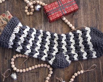 Christmas Stocking, Gray and Cream. Christmas Decorations, Crochet Stocking, Rustic Style Traditional Christmas.