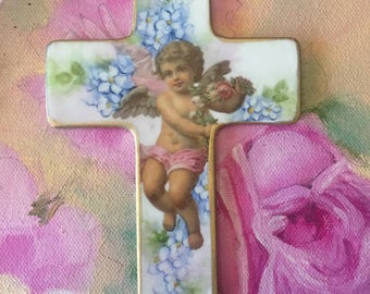 Beautiful Angel with forget me not flower hand painted porcelain Cross