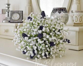 Lavender bouquet, Baby's breath bouquet, Silk bridal bouquet, Destination wedding, Bouquet, White Baby's breath, Bouquet, Madeline Lavender