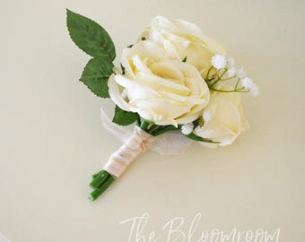 Vanilla rose corsage / Rose corsage / Baby's breath corsage / Lapel corsage / Wedding corsage /  Formal corsage / Mother of the bride