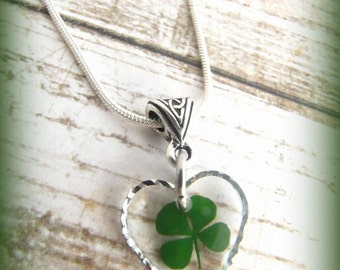 Real Four Leaf Irish Clover Pressed Glass Heart Silver Shamrock Necklace