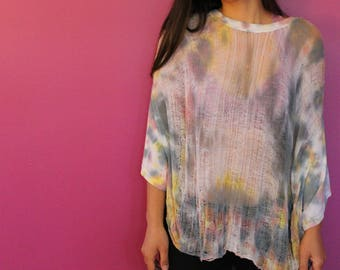 Shredded Tie Dyed Crop Top ~ slowshine