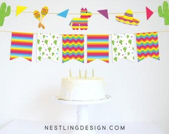 Fiesta Garland | Fiesta Banner | Pinata Banner | Fiesta Birthday Party | Cactus Garland | Printable Party Decorations | Cinco de Mayo Banner