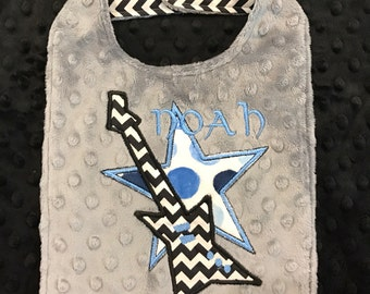 Black and Grey Rocker Bib/minky bib/guitar bib/guitar/baby bib/newborn bib/gray minky bib/personalized bib/monogrammed baby bib