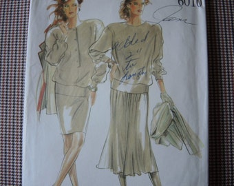 vintage 1980s New Look sewing pattern 6010 misses tops and skirts size 8-18