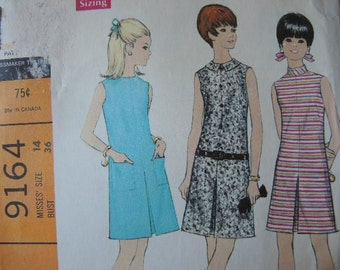 vintage 1960s McCalls sewing pattern 9164 misses mid century misses dress in three versions UNCUT size 14