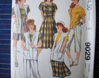 vintage 1980s McCalls sewing pattern 9029 UNCUT misses vest top skirt or pants and shorts size 8