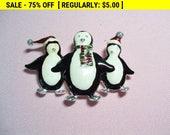 Vintage brooch, penguin brooch, fashion brooch, estate jewelry, xmas