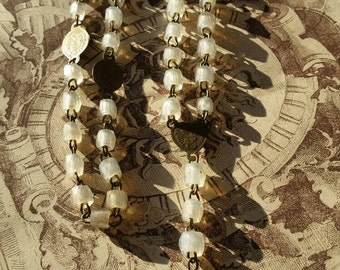 Stunning Antique  French Gypsum-style / Mother of Pearl / Nacre Rosary Beads / Chapelet with Gilt Crucifix