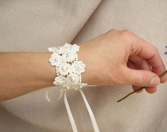 Bridal lace bracelet, Pearl beaded wrist corsage, Ivory floral wedding bracelet, Wedding jewelry