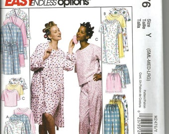 McCalls 2476 new and uncut size small - large womans pajamas, gown and robe