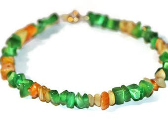 Green Anklet, Yellow And Green, Beaded Anklet, Anklet With Small Clasp