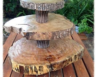 Log slice cake stand
