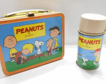 Vintage 1959 Peanuts Metal Lunch Box & Metal Thermos--No Dents--Plenty Of Scratches