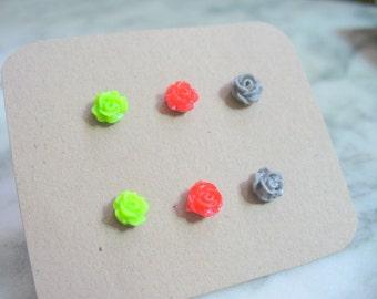 LovelyTiny Rose Post Earrings, Stud Earring, Bridesmaid Earring, Wedding Earrings, Flower Girl, Gift for Her, Set of 3, Green, Red, Gray