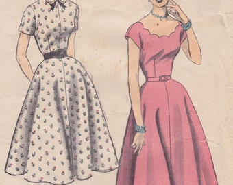 "1950s Scalloped Neckline Dress Full Skirt Vintage Sewing Pattern [Advance 6120] Size 16, Bust 34"", Complete"