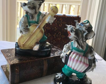 Occupied Japan Dog Musicians Pair Lenwile Ardalt Schnauzer Dogs Play Bass Fiddle and Accordion Schnauzer Dog Musicians