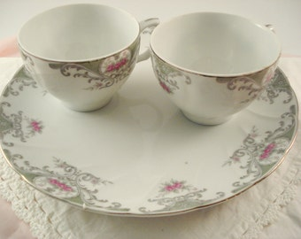 Vintage Snack Sets Luncheon Sets Tea Sets Valentine Pattern Pink Rose Shabby Cottage Chic Two Place Settings China