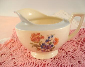 Vintage Creamer Ivory and Blue Floral Shabby Cottage Chic