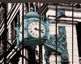 Marshall Fields Clock, Chicago, Illinois, McArthur Vertical Wood Blocks