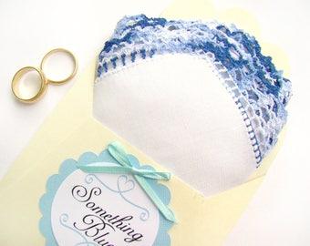 Something Blue, Vintage Handkerchief, Wedding Keepsake, Something Old, Wedding Shower Gift, Wedding Gift Bridal Handkerchief