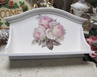 Shabby Chic White WALL SHELF, Made of Wood, Decoupaged Roses, Cottage Chic Decor, White Chic Decor, Pink Rose Decor, Romantic Home Decor